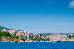 View of Skiathos town and harbour Royalty Free Stock Photo