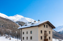 View of skiing resort in Alps. Livigno Stock Image
