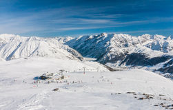 View of skiing resort in Alps. Livigno Royalty Free Stock Images