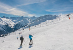 View of skiing resort in Alps. Livigno Stock Photography