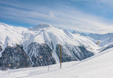 View of skiing resort in Alps. Livigno Royalty Free Stock Photos
