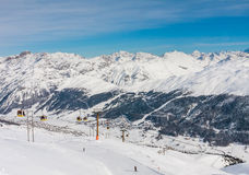 View of skiing resort in Alps Stock Images