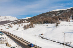 View of skiing resort in Alps. Livigno Stock Images