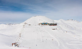 View of skiing resort in Alps. Region Carosello. Livigno Stock Image