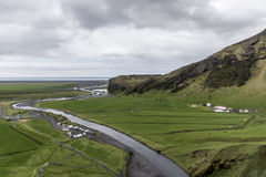 View from Skogafoss beautiful green Iceland Royalty Free Stock Images