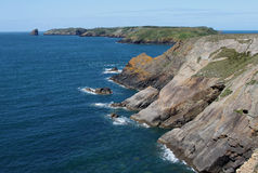View of Skomer Island from Pembrokeshire Headland Stock Image