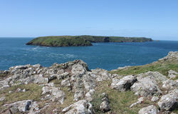 View of Skomer Island from Pembrokeshire Headland Royalty Free Stock Image