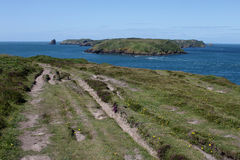 View of Skomer Island from Pembrokeshire Headland Stock Photos