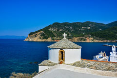 View of Skopelos churches over the bay Royalty Free Stock Images