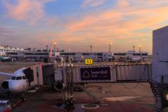 View of sky and apron in the morning Stock Photo