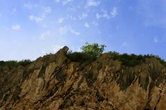 View of the sky in between the cliffs of the mountain. View of the sky on the sidelines of mountain cliffs in Aceh, Indonesia stock image