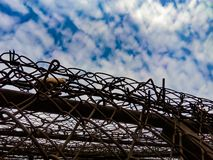View of the sky with clouds due to barbed wire. stock photography