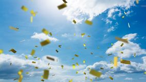 View of the sky and confetti. Digital animation of the sky with clouds while gold confetti fall in the screen vector illustration
