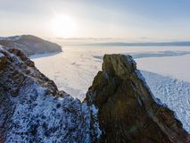 View from sky on frozen ice fields of Lake Baikal, Russia Siberia royalty free stock photography