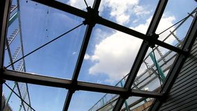 Glass roof in the subway. View of the sky through the glass roof of the subway stock video