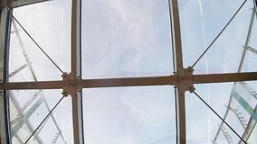 Glass roof in the subway. View of the sky through the glass roof of the subway stock footage