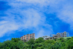 The view of the sky and mountains from the Mogren beach. Budva. Montenegro Royalty Free Stock Images