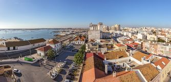 View from the sky street of a railway station in the city of Faro. Stock Image