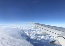 View of the sky from the window in the plane.  royalty free stock photography
