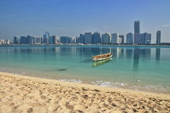View of the Skyline of Abu Dhabi UAE. View of the Skyline and the Beach of Abu Dhabi United Arab Emirates Royalty Free Stock Image