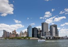 View of the Skyline of the Battery Park area in Manhattan, New York City from the Staten Island stock photography