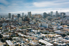 View of the skyline, from Coit Tower in San Francisco  Royalty Free Stock Photos