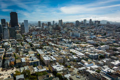View of the skyline, from Coit Tower in San Francisco  Royalty Free Stock Images