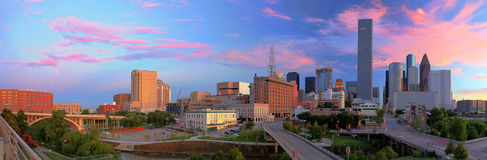 View on Skyline of Downtown Houston. Beautiful Sunset in Downtown Houston Royalty Free Stock Photo
