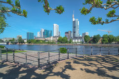 View on Skyline of Frankfurt City / Germany with modern architecture Stock Photos