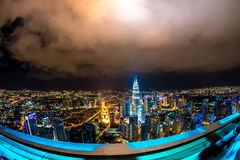 View on the Skyline of Kuala Lumpur at night Stock Photography