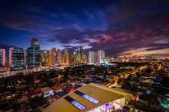 View of the skyline of Makati at night, in Metro Manila, The Phi Stock Photography
