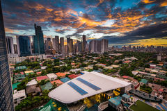 View of the skyline of Makati at sunset, in Metro Manila, The Ph. Ilippines stock photography