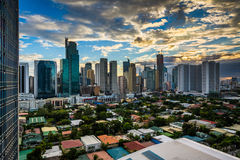 View of the skyline of Makati at sunset, in Metro Manila, The Ph. Ilippines royalty free stock photo