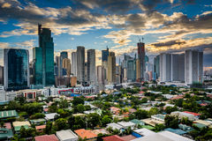 View of the skyline of Makati at sunset, in Metro Manila, The Ph. Ilippines royalty free stock photos