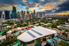 View of the skyline of Makati at sunset, in Metro Manila. The Philippines stock image