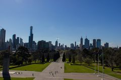 View of the skyline in Melbourne, Australia stock photos