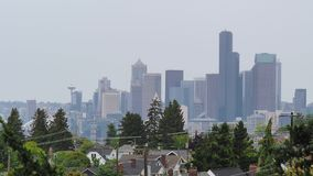 View of skyline of Seattle viewing north from Jefferson Park stock video