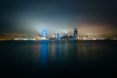 View of the skyline of Tsim Sha Tsui at night, seen from the Exp Stock Photography