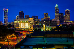 View of the skyline of Uptown at night, in Charlotte, North Caro Stock Images