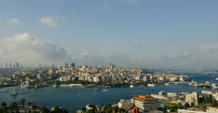 View of skyscapers and golden horn of ıstanbul Royalty Free Stock Photos