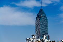 A view of skyscraper with blue sky royalty free stock photography