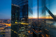 View from skyscraper. Evening view of the business center Royalty Free Stock Photos