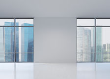 View of skyscraper. From wide window, 3D rendering Royalty Free Stock Image