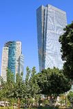 View of skyscrapers AfiSquare Tower left and Azrieli Sarona Tower right from Sarona open air commercial center in Tel Aviv. Israel, Middle East stock images