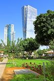 View of skyscrapers AfiSquare Tower left and Azrieli Sarona Tower right from Sarona open air commercial center in Tel Aviv. Israel royalty free stock photo