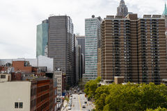 View of skyscrapers from Brooklyn Bridge, Downtown, New York. Royalty Free Stock Photo