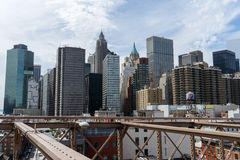 View of skyscrapers from Brooklyn Bridge, Downtown, New York. Stock Photography