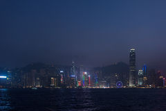 View of skyscrapers in business center of Hong Kong city and Vic Royalty Free Stock Image