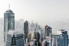 View of skyscrapers in business center of Hong Kong city Royalty Free Stock Photo