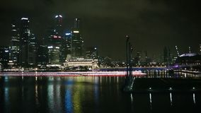 View of skyscrapers business center at night stock footage